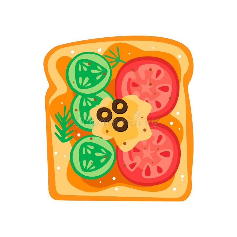 Smakowita kanapka z plasterkami ogórek, pomidory, świeży ser i oliwki, Wyśmienicie śniadaniowy Płaski wektorowy projekt royalty ilustracja
