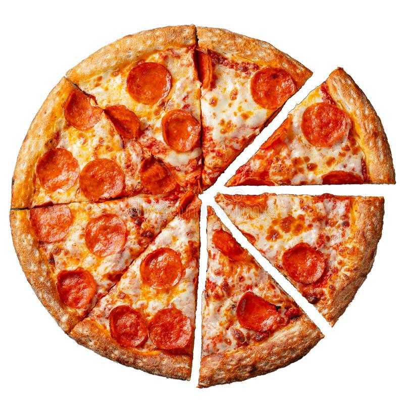 Smakowita pepperoni pizza Odgórny widok gorąca pepperoni pizza Mieszkanie nieatutowy pojedynczy białe tło fotografia stock