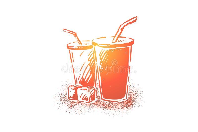 Smakowita soda, świeży zimny napój w rozporządzalnych filiżankach z słoma, kola i kostka lodu, pragnienie gaszący ilustracji