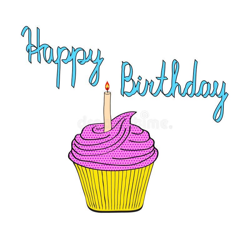Smakowita urodzinowa babeczka z świeczka wystrzału sztuki stylu komicznym wektorem il ilustracja wektor