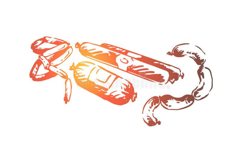 Smakowite kie?basy, grill ilustracja wektor