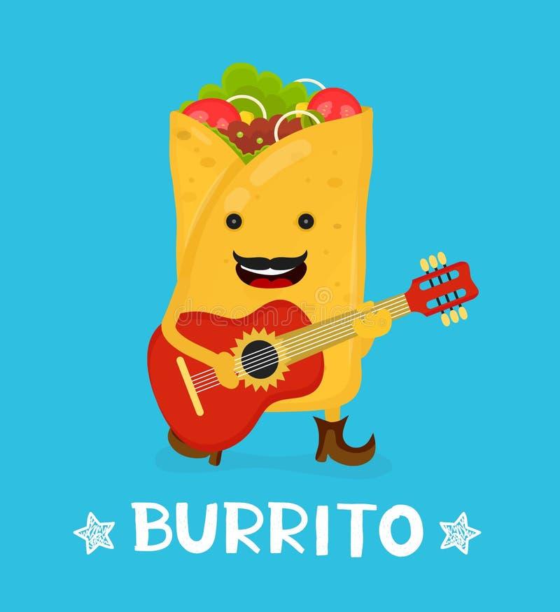 Smakowity śliczny szczęśliwy uśmiechnięty burrito taniec ilustracja wektor