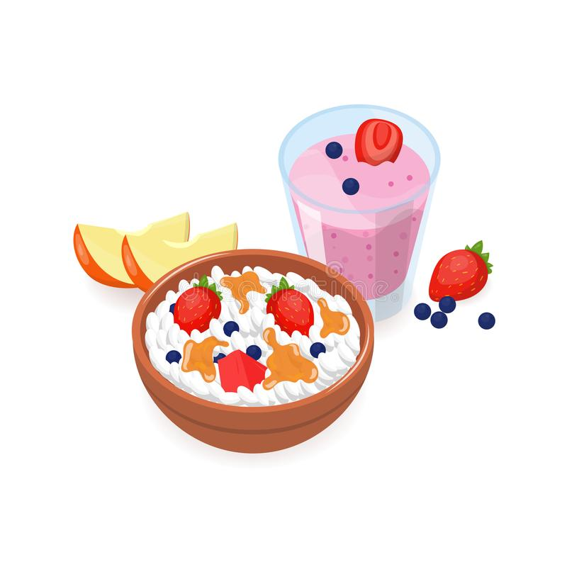 Smakowity śniadanie składać się z chałupa ser z owocowymi plasterkami, jagody, organicznie miód ilustracji