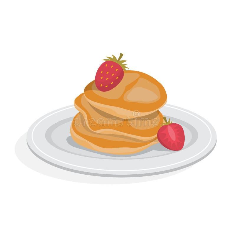 Smakowity blin dla śniadania z jagodą jest mógł karmowy domowej roboty kulebiak ilustracji