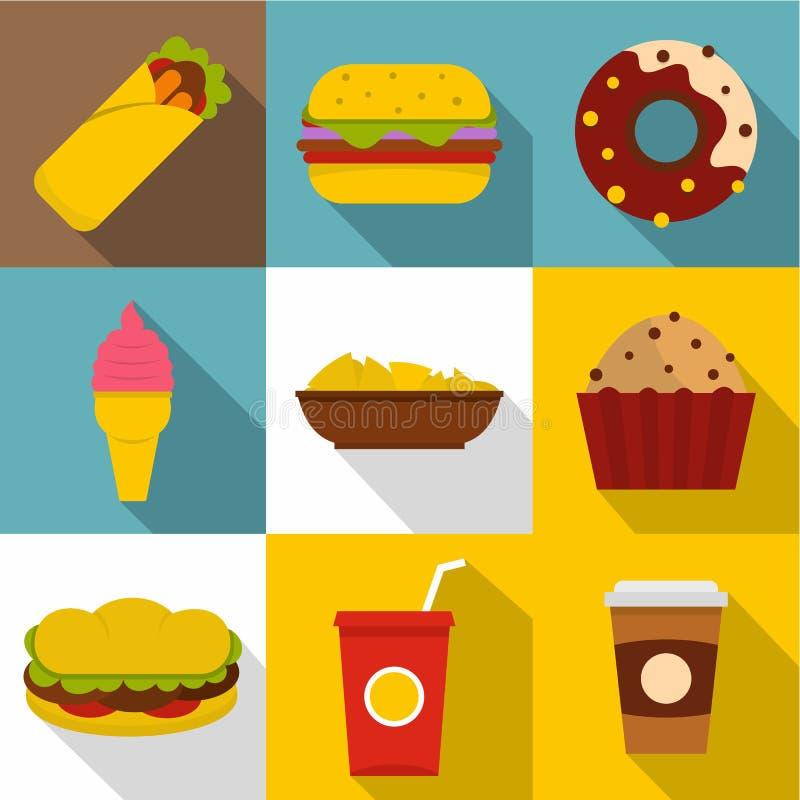 Smakowity fast food ikony set, mieszkanie styl ilustracja wektor