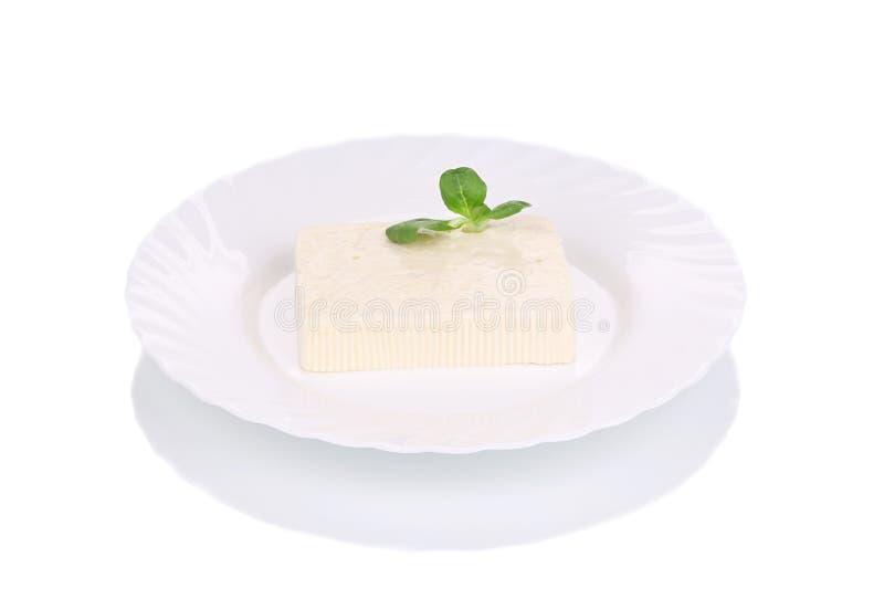 Smakowity feta ser na talerzu z ziele zdjęcie stock