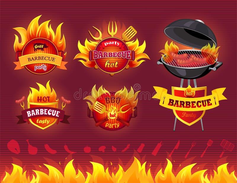 Smakowity Gorący grill, grilla przyjęcie, set ikony ilustracji