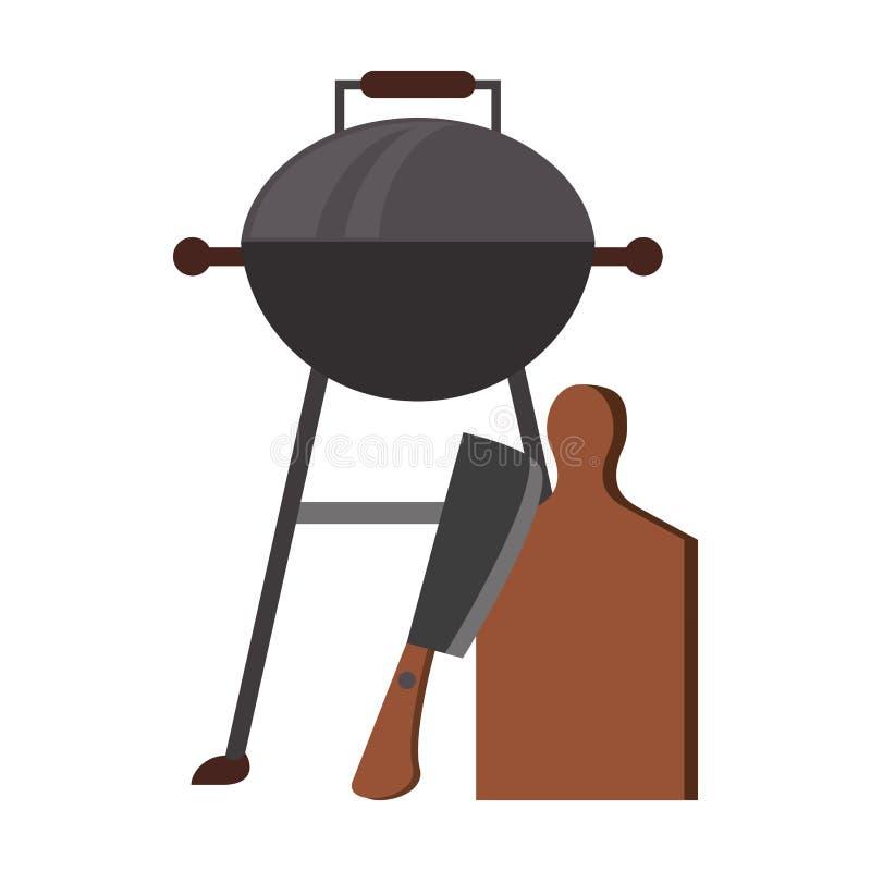 Smakowity grill piec na grillu karmowa kreskówka ilustracji