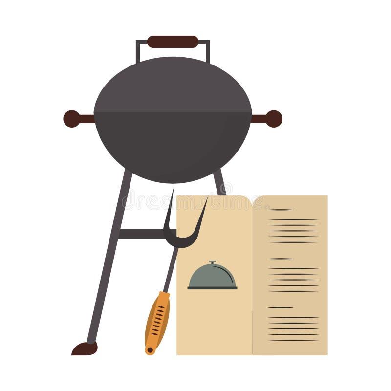 Smakowity grill piec na grillu karmowa kreskówka royalty ilustracja