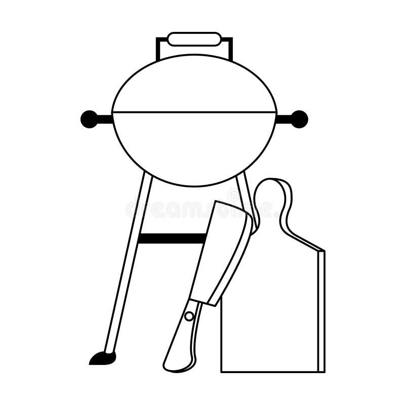 Smakowity grill piec na grillu karmowa kreskówka w czarny i biały ilustracji