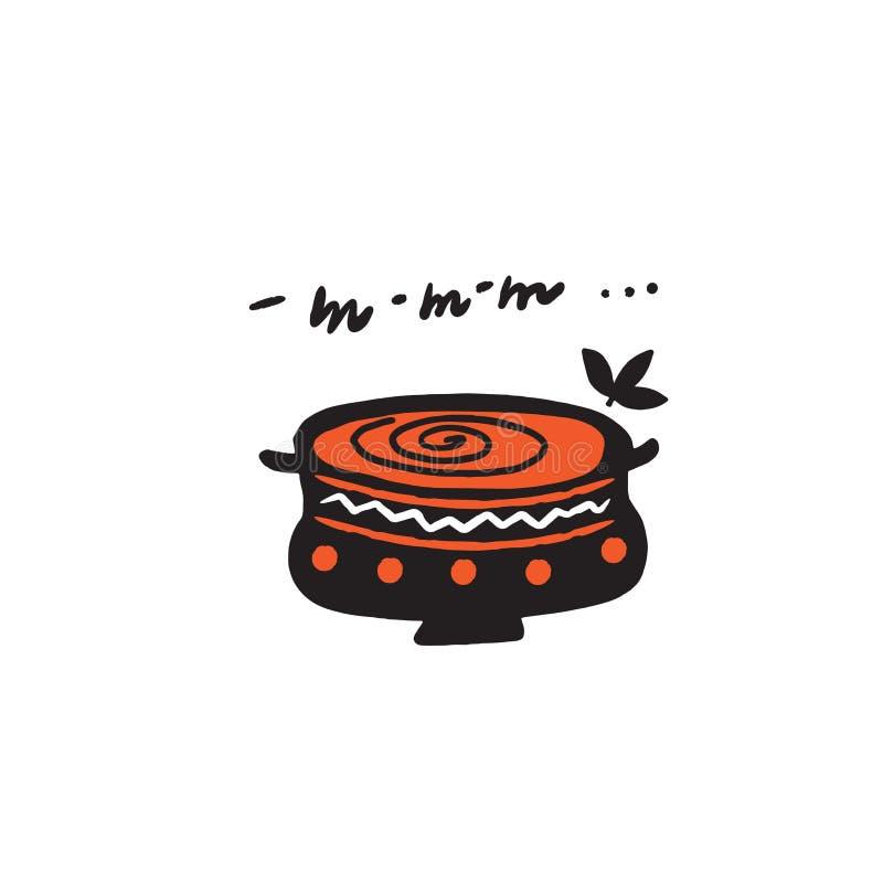 Smakowity jedzenie Śmieszny puchar z zwrotem mmm Ręka rysująca wektorowa ilustracja ilustracja wektor