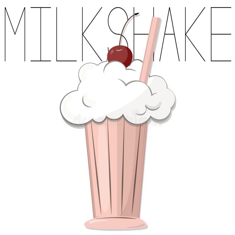 Smakowity milkshake z wiśnią Wektorowa karmowa ilustracja Śliczny lato abstrakta tło Waniliowy koktajl w szkle z jagodami royalty ilustracja