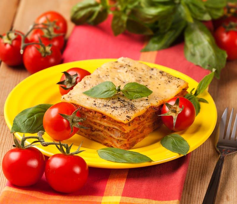 Smakowity przyprawiony lasagna na talerzu i składnikach zdjęcia royalty free