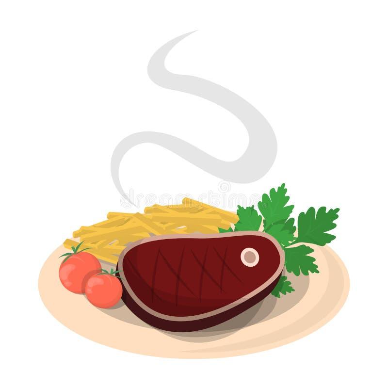 Smakowity stek z warzywem na talerzu deliciouses royalty ilustracja