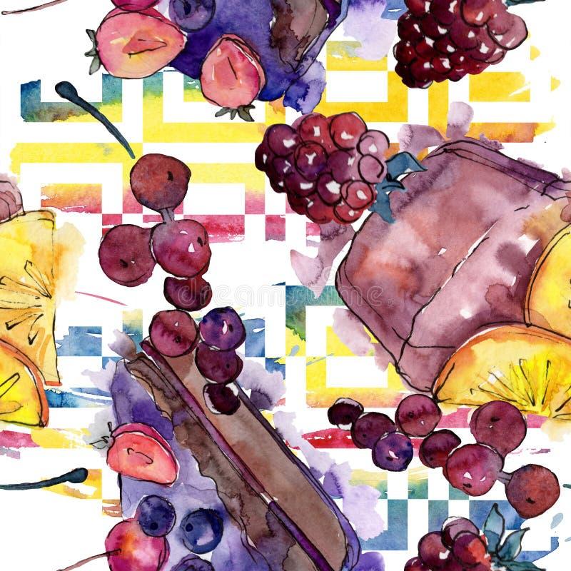 Smakowity tort w akwarela stylu Watercolour ilustracji set Bezszwowy t?o wz?r ilustracji