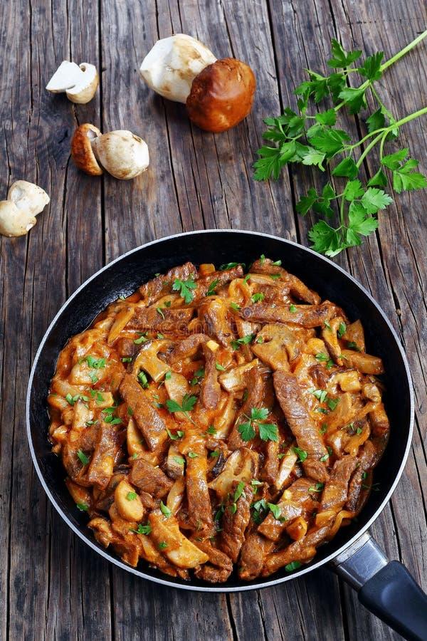 Smakowity wołowiny stroganoff z ceps na rynience zdjęcia stock