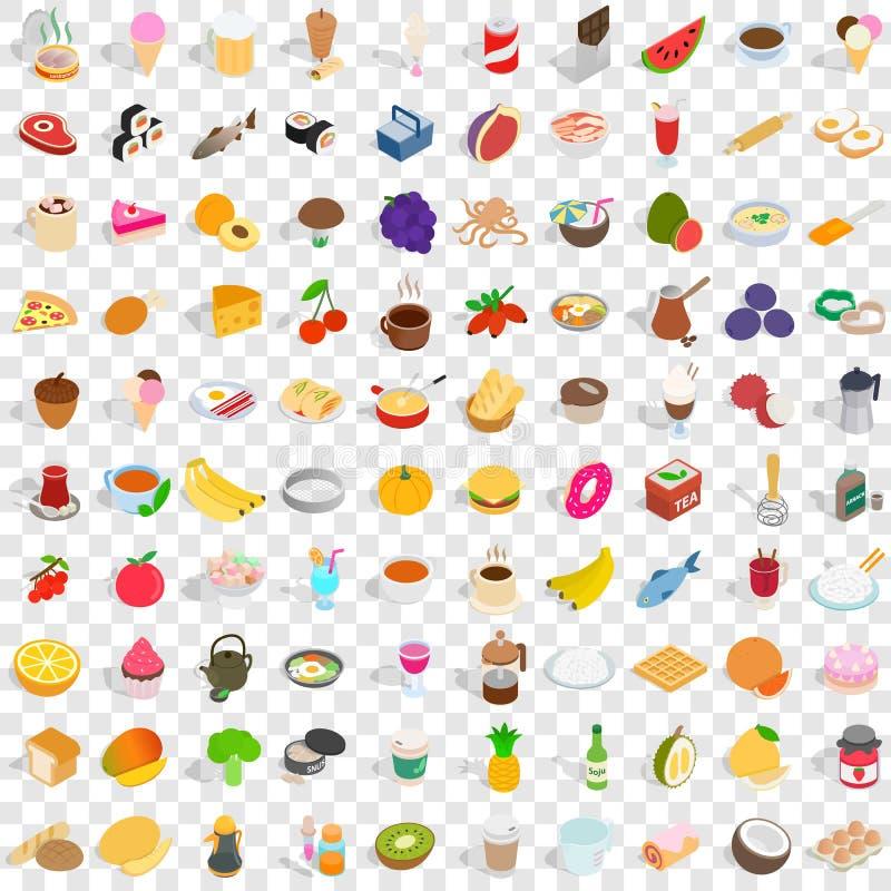 100 smakowitych karmowych ikon ustawiających, isometric 3d styl royalty ilustracja