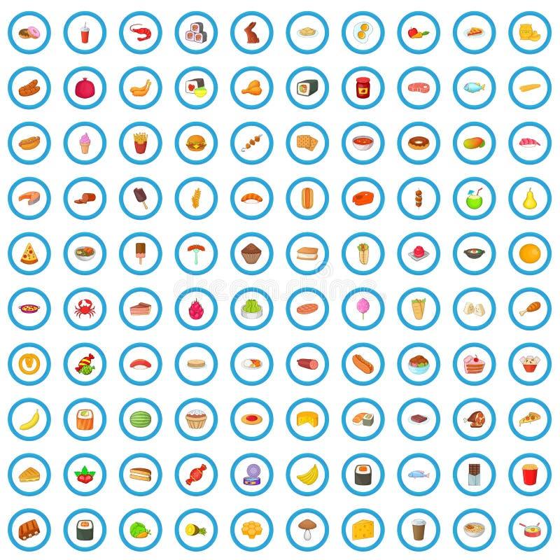 100 smakowitych karmowych ikon ustawiaj?cych, kresk?wka styl ilustracji