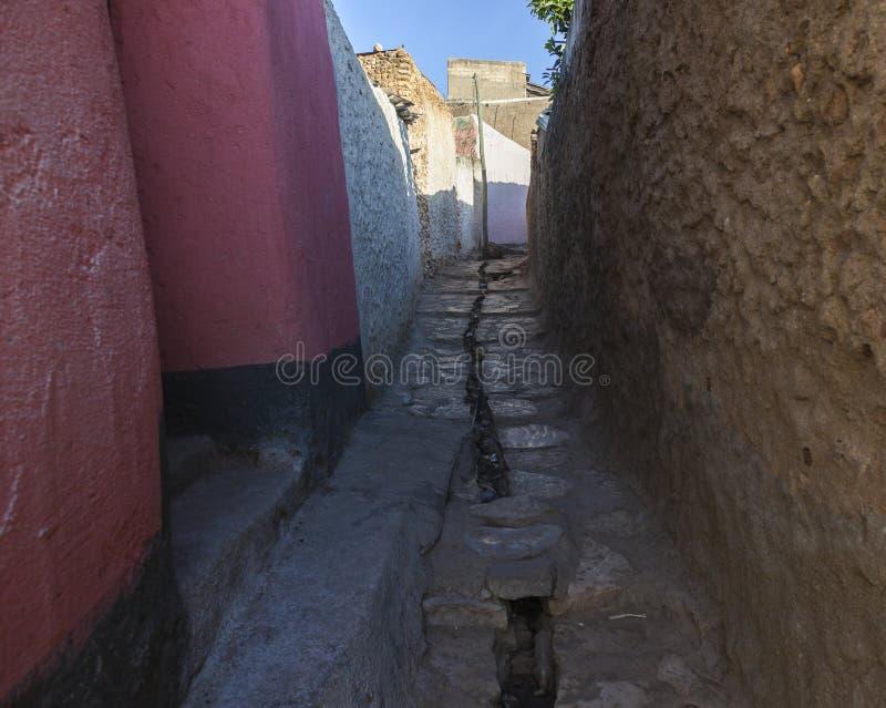 Smal bakgata av den forntida staden av Jugol i morgonen Harar arkivfoton