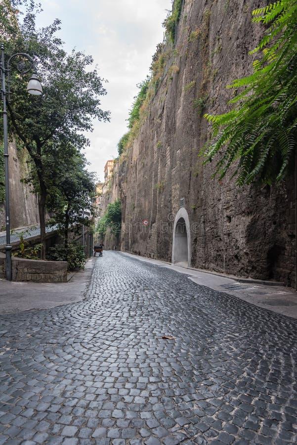 Smal gata av via Luigi de Maio i Sorrento fotografering för bildbyråer