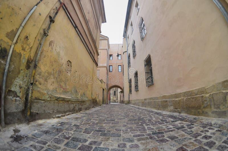 Smal gata med en bana av förberedande stenar Passera mellan de gamla historiska höghusen i Lviv, Ukraina royaltyfri bild