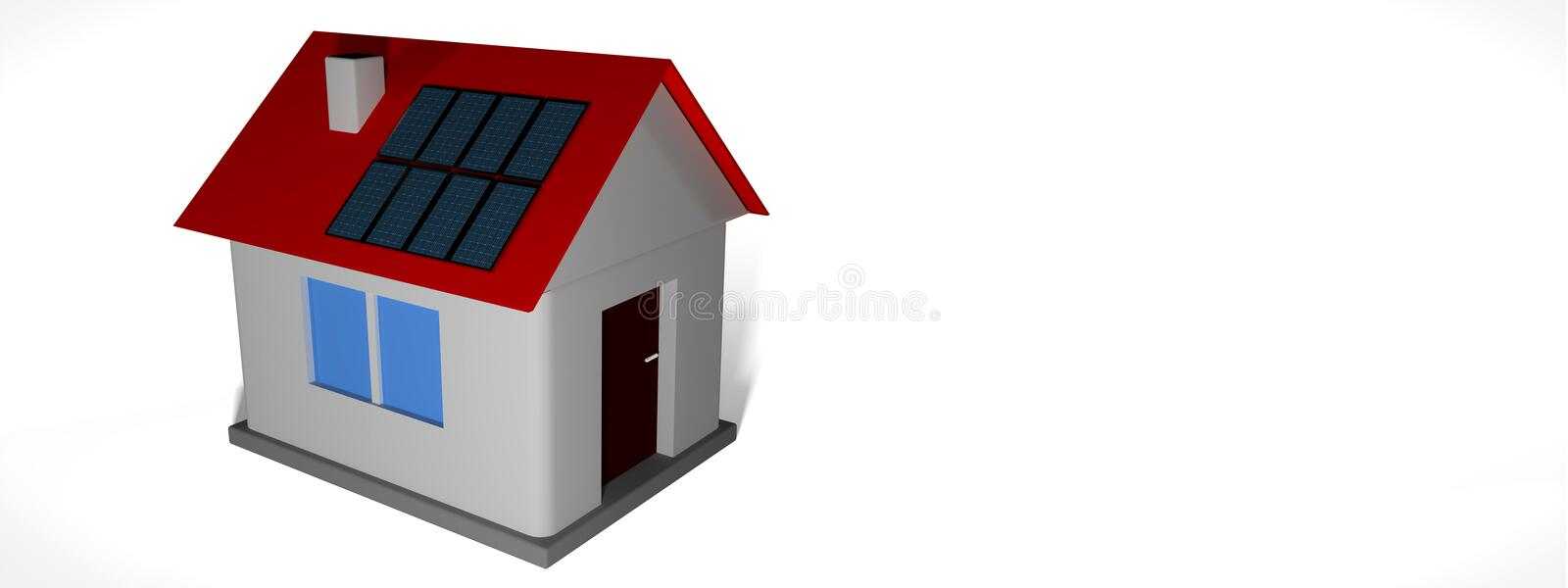 Smal house model with solar panels. Smal house model with solar panels on roof against white background. 3d render illustration. For real estate headers or royalty free illustration