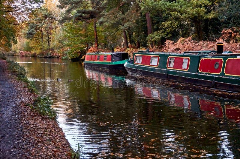 Smala fartyg för engelsk kanal med höstnedgångsidor på träd royaltyfria bilder