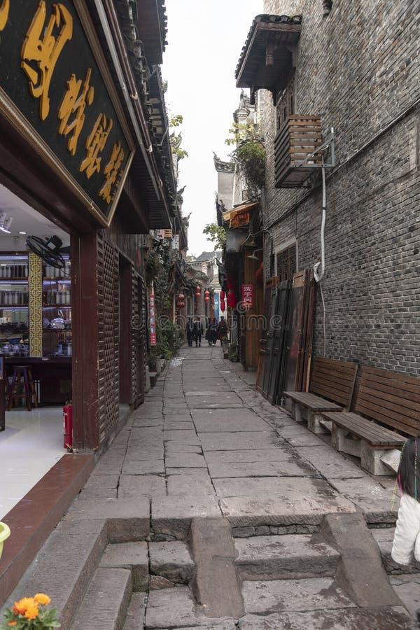 Smala gator av den gamla staden av fenghuang arkivfoto