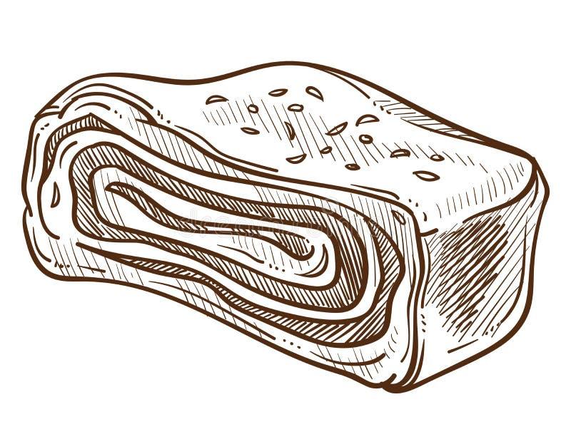 Smalec lub bekon, żywność mięsna, wieprzowina z odtłuszczonym szkicem ilustracji
