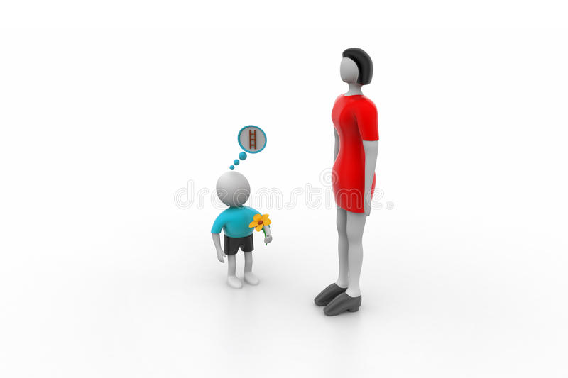 Small 3d man proposing the taller woman royalty free illustration
