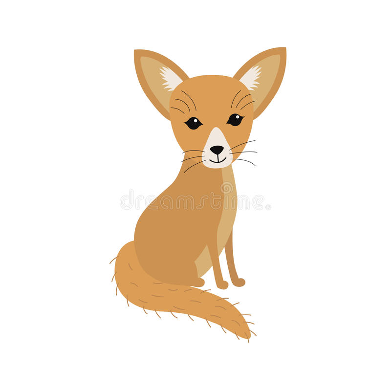 Small African fox Fennec. Illustration for children stock illustration