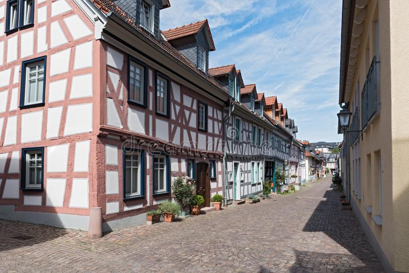Small alley with half-timbered houses in the old town of Idstein, Hesse, Germany.  stock photography
