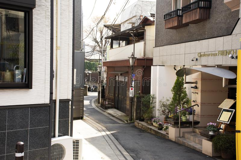 Small alley and modern house in Naritasan Omote Sando or Old Japanese Narita town at Chiba Prefecture in Tokyo, Japan stock photography