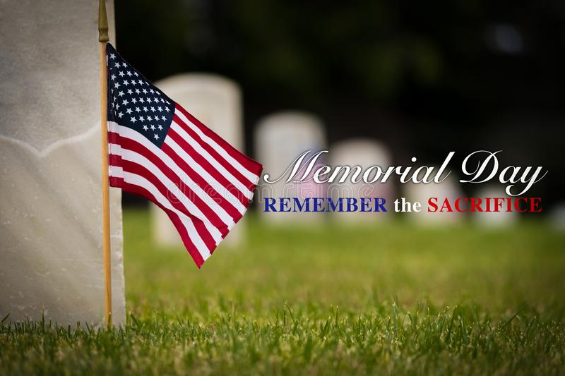 Small American flag at National cemetary - Memorial Day display - stock image