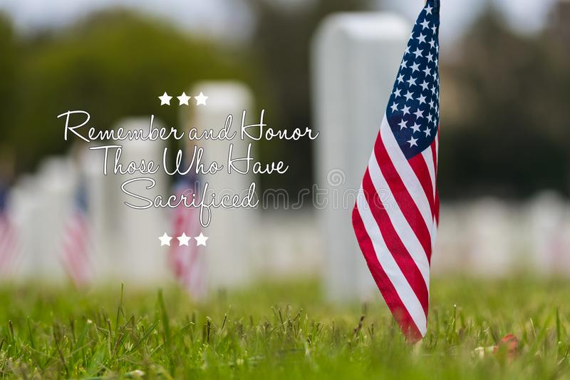 Small American flag at National cemetary - Memorial Day display - royalty free stock photo