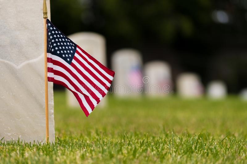 Small American flag at National cemetary - Memorial Day display stock images
