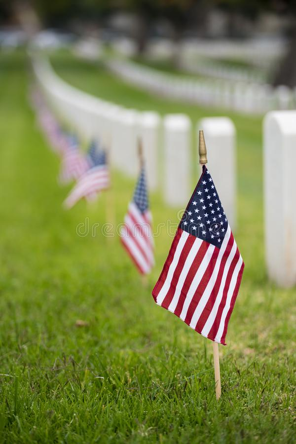 Small American flag at National cemetary - Memorial Day display royalty free stock photos