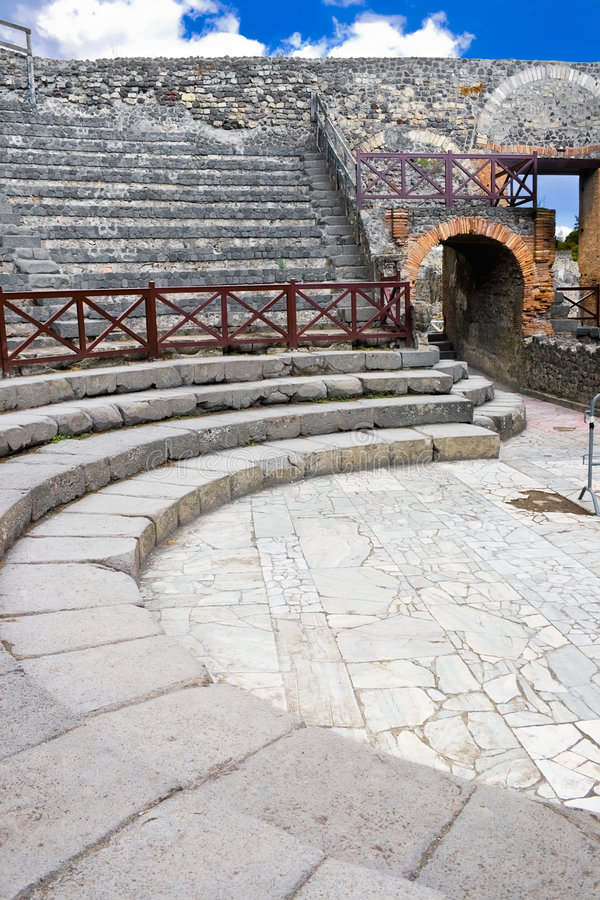 Small amphitheater in Pompeii. Ancient ruins of a small amphitheater in Pompeii, Italy stock photography