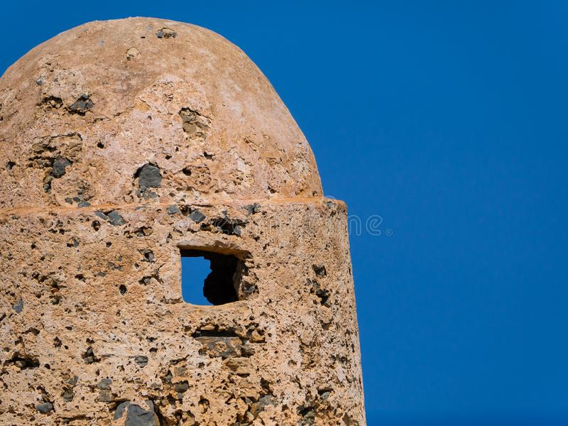 Small ancient watchtower on Gramvousa Fort in Crete, Greece royalty free stock photos
