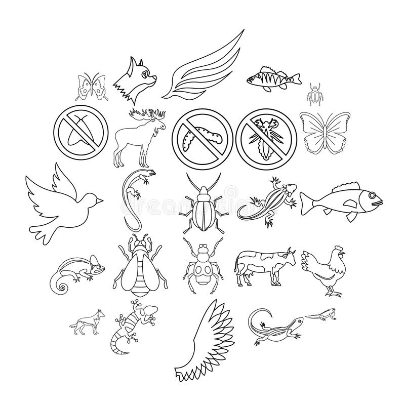 Small animal icons set, outline style. Small animal icons set. Outline set of 25 small animal vector icons for web isolated on white background vector illustration