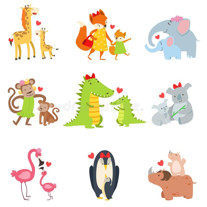 Small Animals And Their Moms Illustration Set. Colorful Childish Style Cartoon Animals In Parent Child Pairs Isolated On White Background royalty free illustration