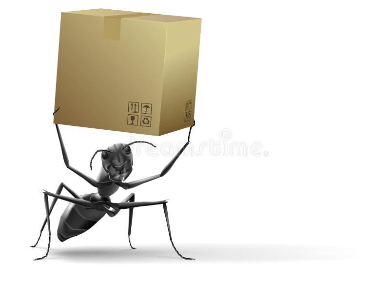 Small ant lifting cardboard box royalty free illustration