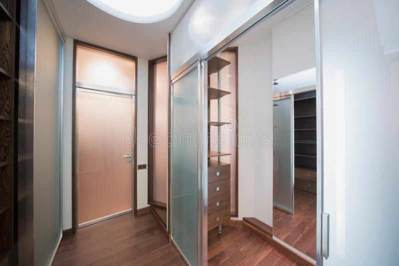 A small antechamber with wooden parquet flooring stock image