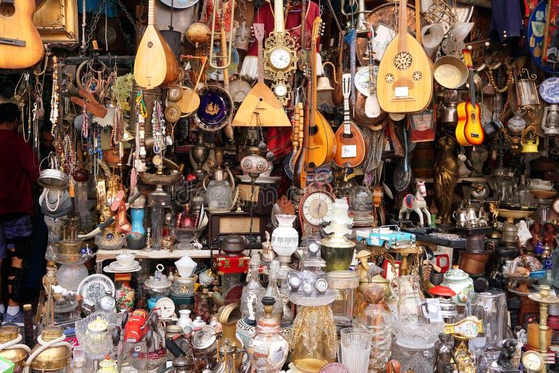 Small antique shop in Monastiraki, Athens royalty free stock image
