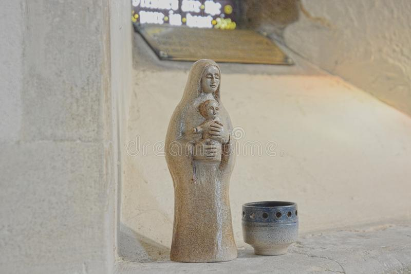 Vigin Mary and Baby Jesus iconic statue stock photo