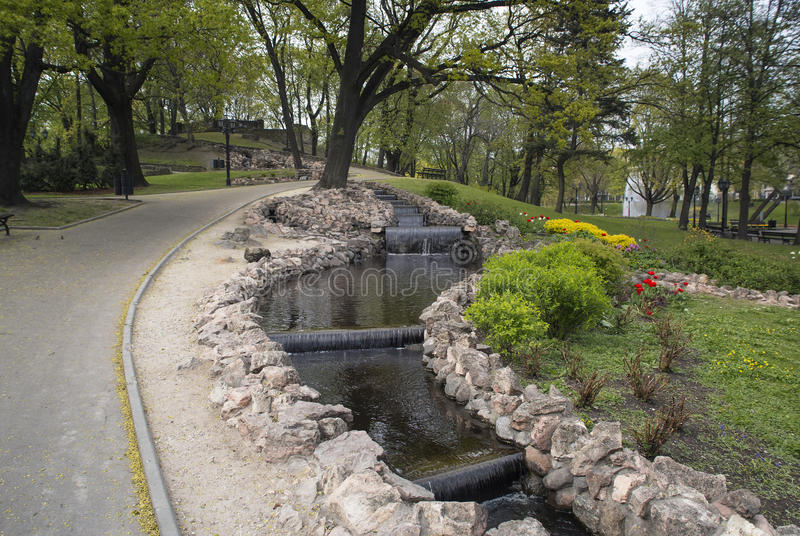 Small Artificial Waterfalls At Bastion Hill Park Stock