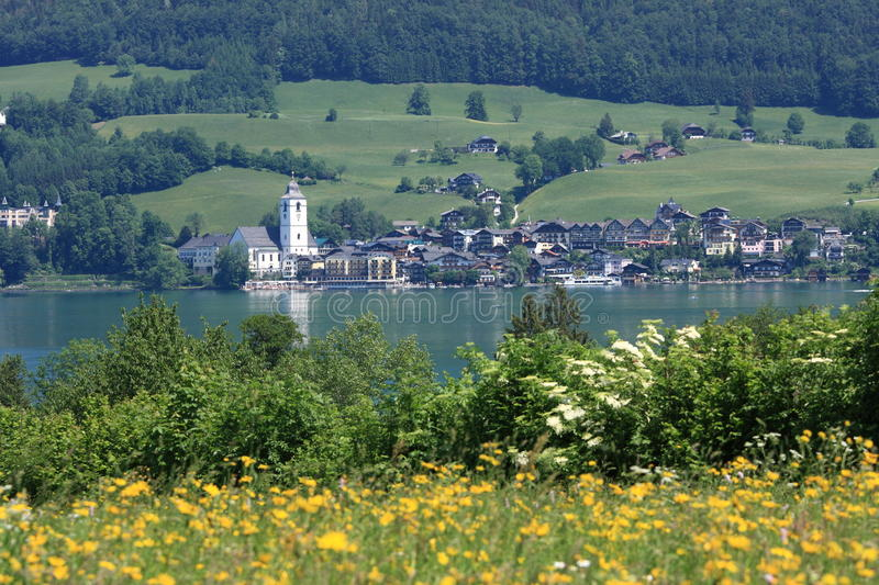 Small Austrian Town by the lake of Wolfgangsee. Wolfgangsee is a lake in Austria that lies mostly within the state of Salzburg and is one of the best known lakes stock images