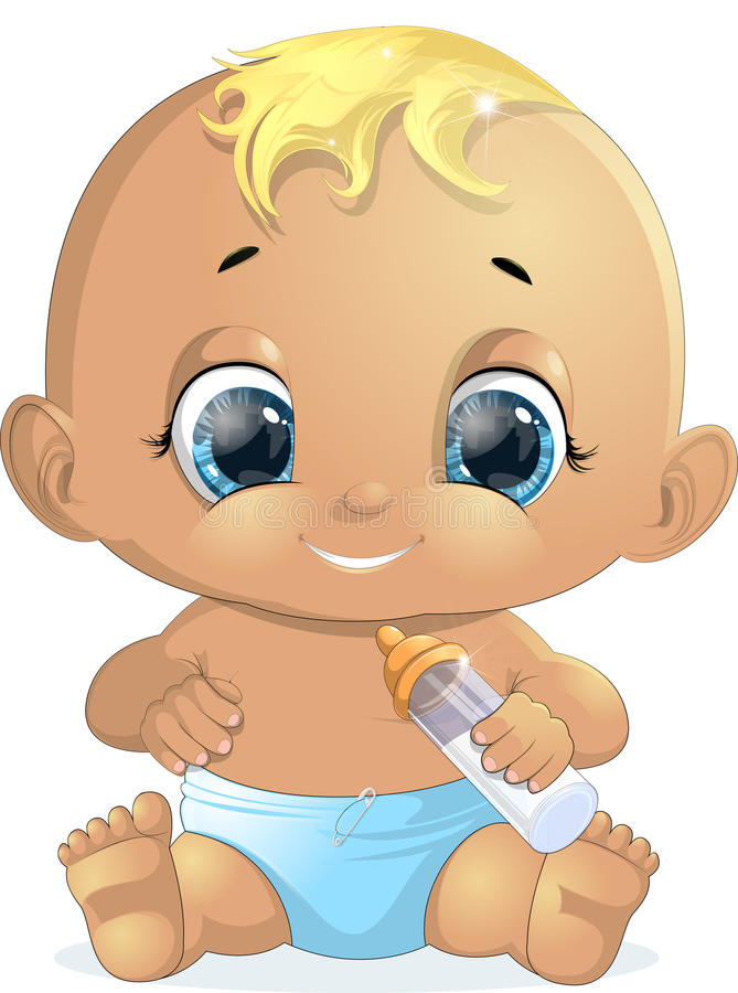 Small baby with a bottle vector illustration