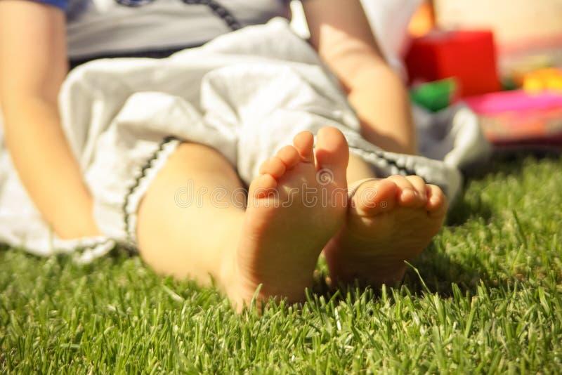 Small baby legs stock photo