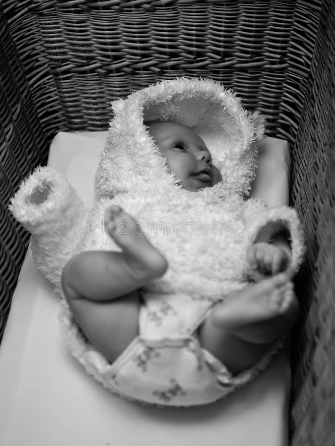 Small Baby In Straw Baby Bad Stock Photo